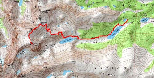 Route from Long Lake Trailhead to Shoshoni Peak Summit