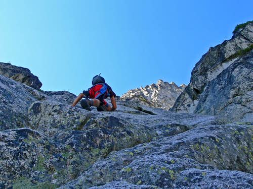 Scrambling up to the South Face