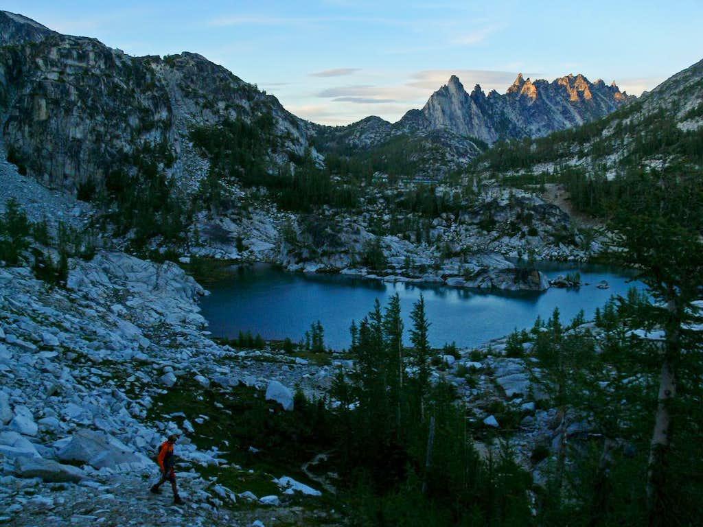 Matt Hiking down to Crystal Lake