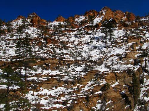 snow covered slickrock