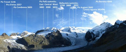 Eastern summits of the Bernina Group