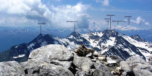 Annotated Lodner summit view towards the Gfallwand and beyond to the distant Ortler group