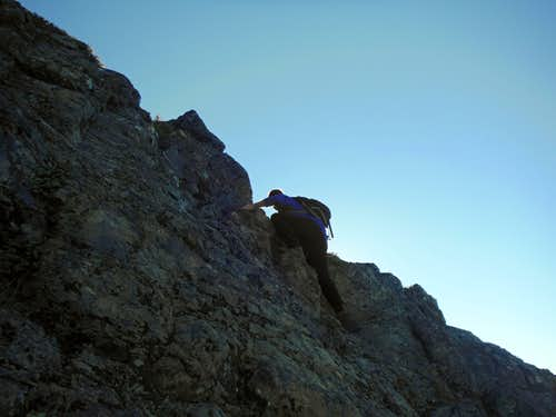 JordanH scrambling up the rock