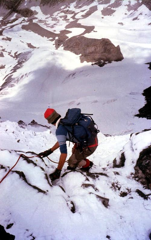 Gr. Rousse descent North Summit after snowfall 1980