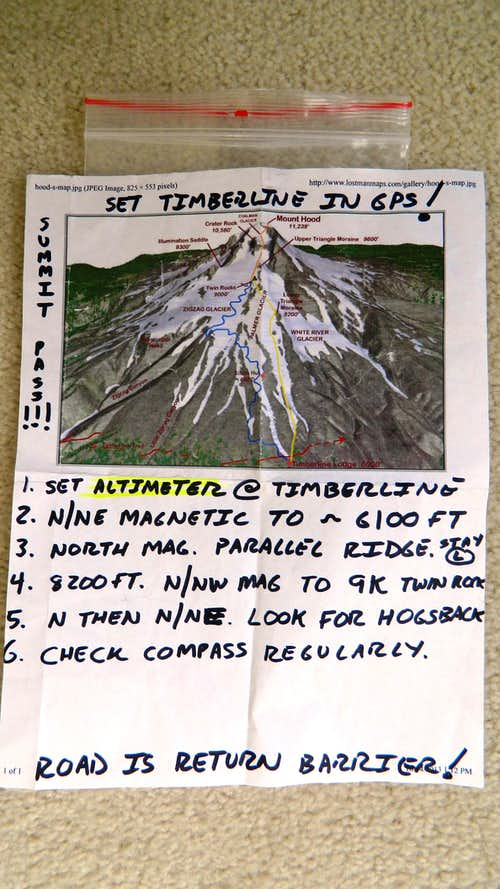 Graphic depiction of the mountain as a back up for my map. The reminders were for me at 1am