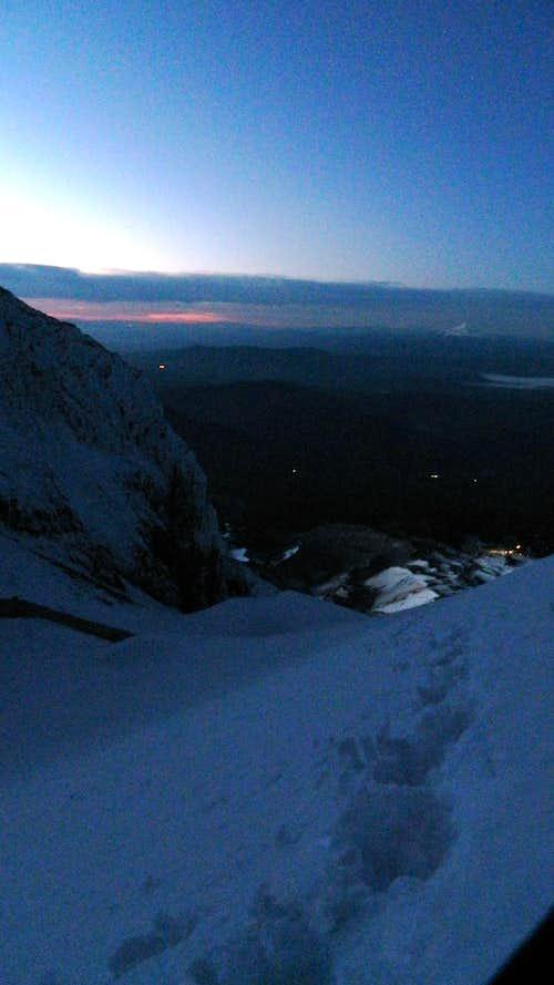 Sunrise looking SE, 9,000 feet or so