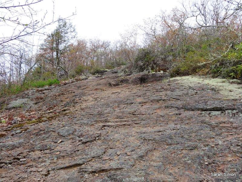 Blazed trail over bare rock