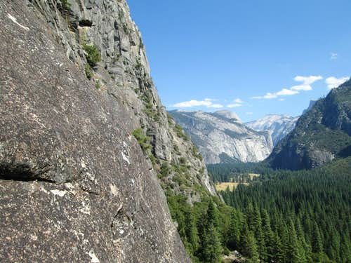 Looking down the valley from the belay on pitch 5 of Nutcracker, Yosemite National Park