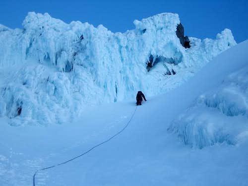 Climbing towards the ice...