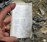 Worthington Peak register page