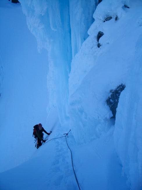 Climbing the NW Couloir of...