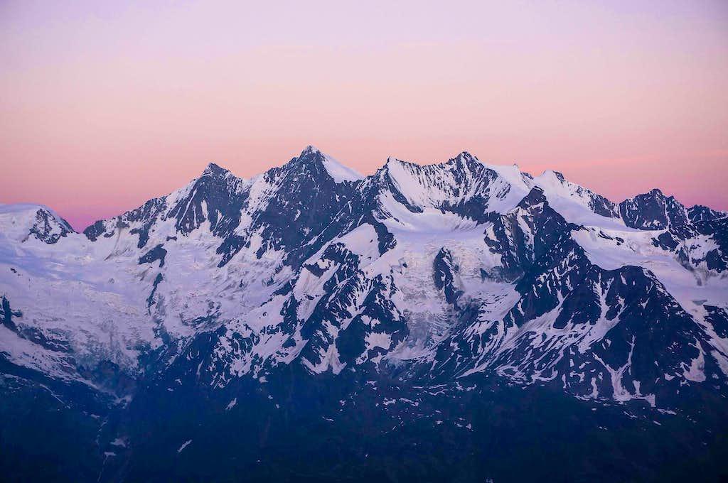 Mischabel  14911 ft / 4545 m at dawn
