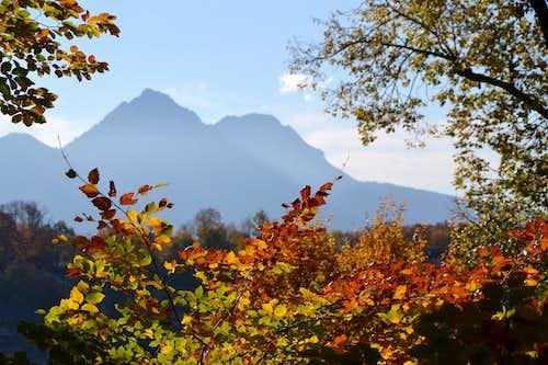 Autumn view to Hochstaufen and Zwiesel