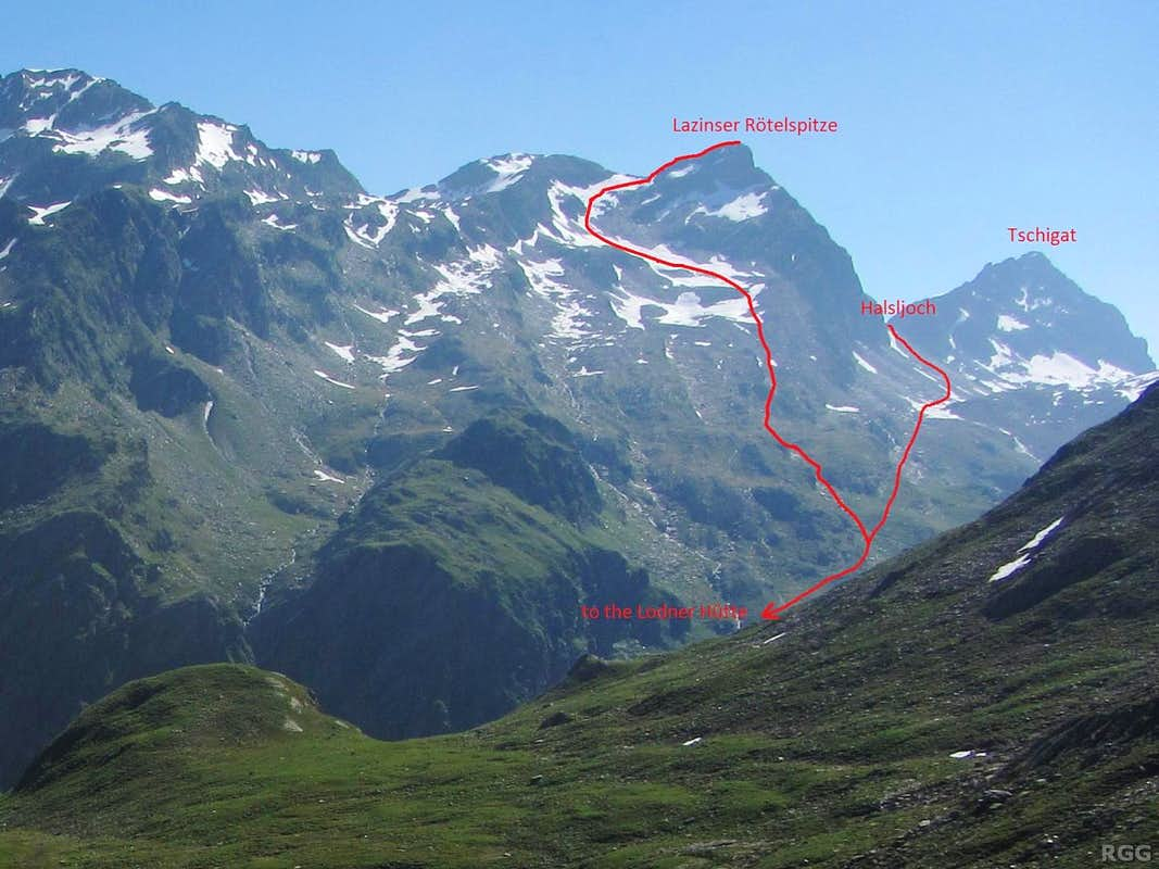 The route down the western slopes