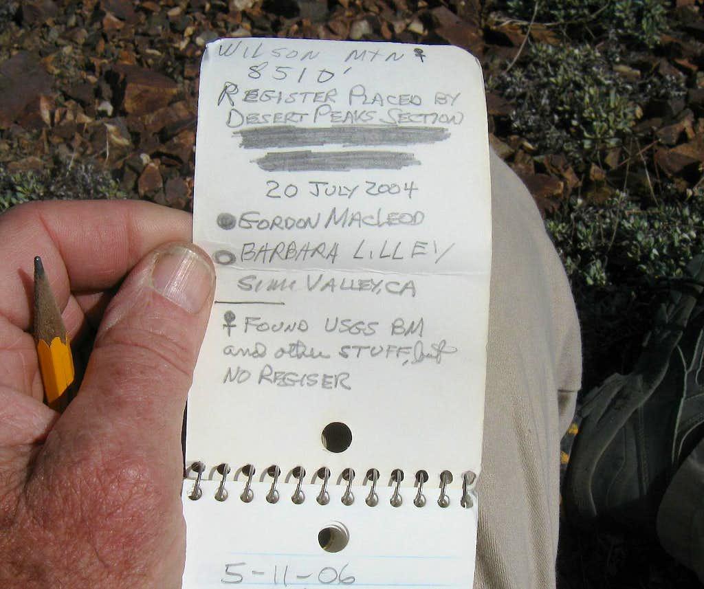 2013 in Nevada - Wilson Pk register