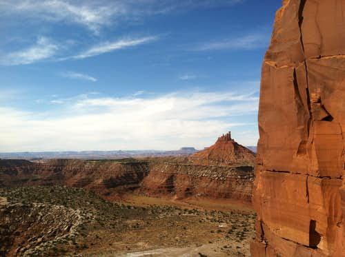 View towards canyonlands from the base of the South Six Shooter