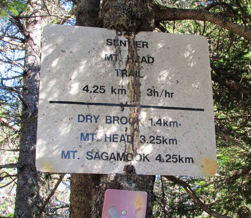 Mount Carleton, Mount Head trail sign