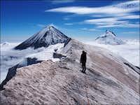 Snow ridge of Krestovsky volcano