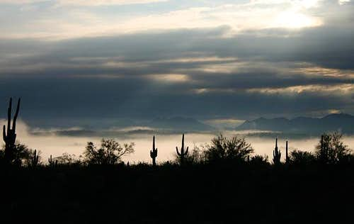 Sunrise in the Four Peaks...