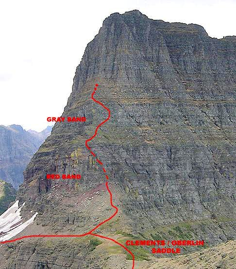 Northern approach, East Face Routes<br> Clements Mountain