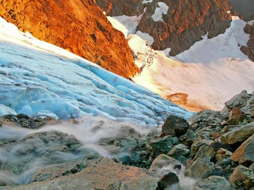 Flowing Water on the Upper Curtis Glacier