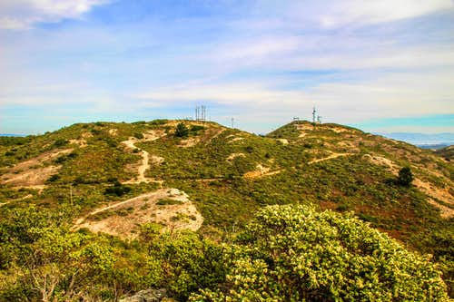 Montara Mountain middle and North Peaks from Peak Mountain