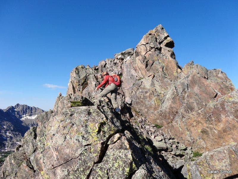 Jon pushing his way toward the summit block