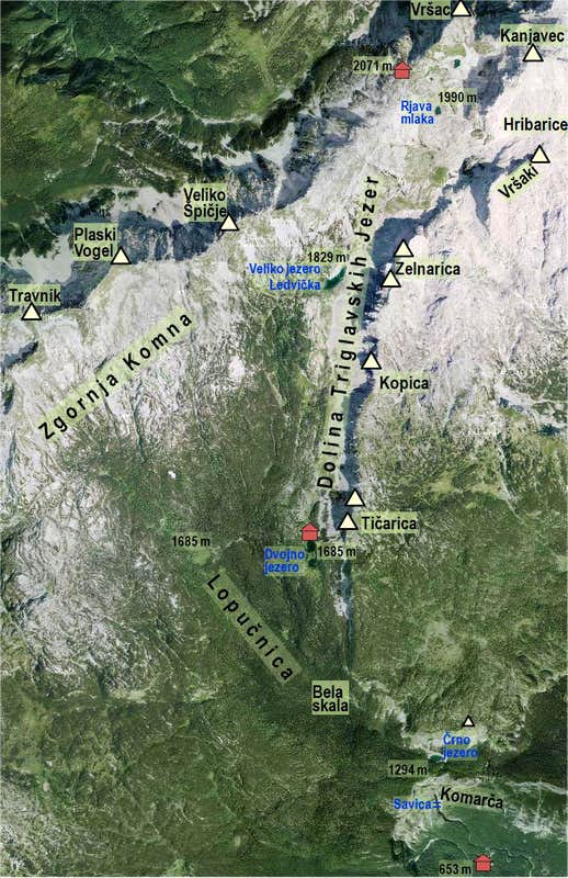 The Valley of Triglav Lakes - map