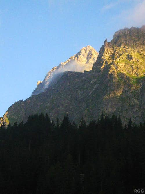 A distant Tschigat (2998m) in the early morning sun