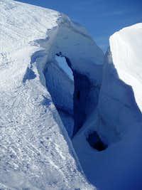 Snow bridge near top