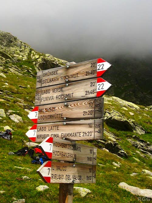 Signpost between Hochgangschartl and Milchsee