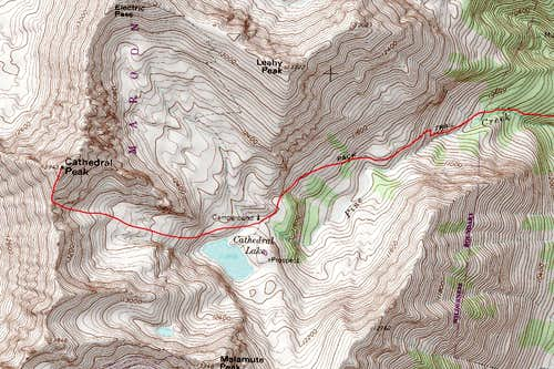 Cathedral Peak Map