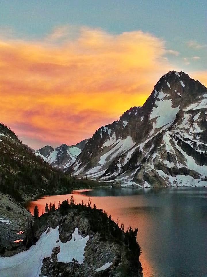 Colorful sky behind Mt. Regan