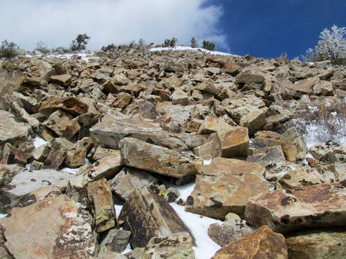 climbing the final talus slope