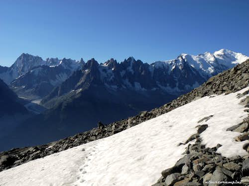 Grandes Jorasses, Aiguilles de Chamonix and Mont Blanc in early summer