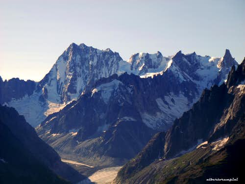 Grandes Jorasses, Rochefort and Dent du Geant in early morning