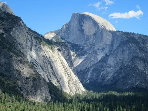 Half Dome and the Washington Column seen from Yosemite Valley
