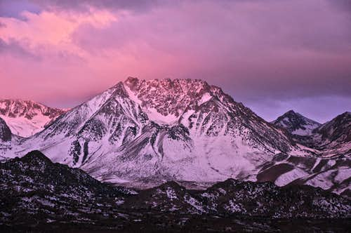 Basin Mountain in a pink veil