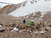 Advanced base camp Cuesta Blanca with our small, but very light tent
