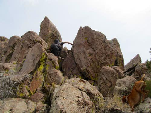 scrambling along Seaman Ridge crest