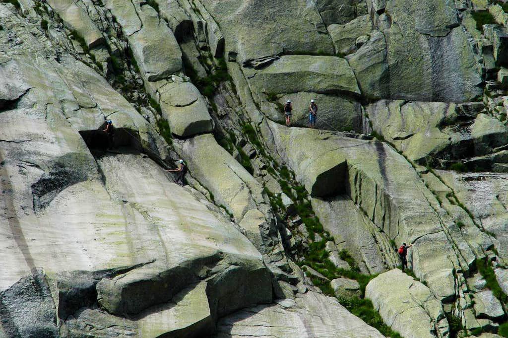 Climbing on Aar granite