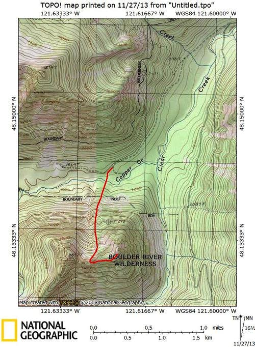 Bornite Mountain route map