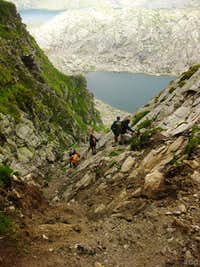 Descending from the Milchseescharte (2707m) to the Milchsee (2540m)