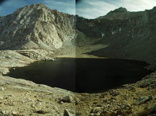 Meysan Lake with Mt Irvine to...
