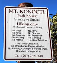 Mt. Konocti red tape sign