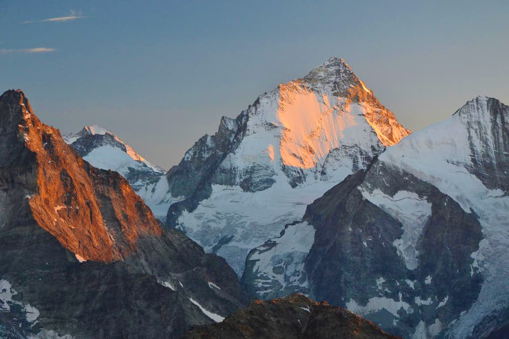 Dent Blanche and Besso in sunset glow