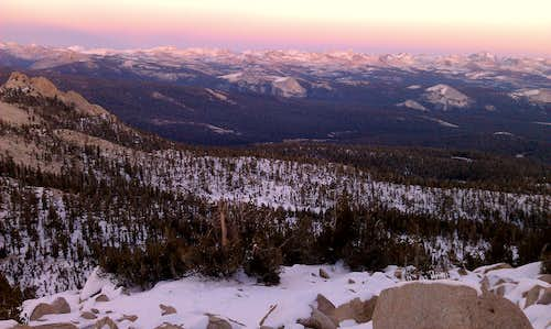 Sunset view of the High Sierra from Three Sisters