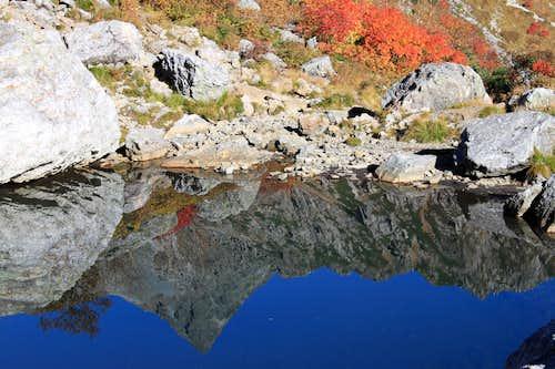 Mt. Yari in the pond