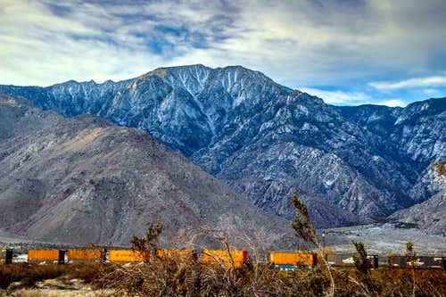 Freight train below San Jacinto Peak