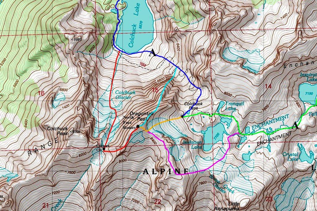 Dragontail Peak Map